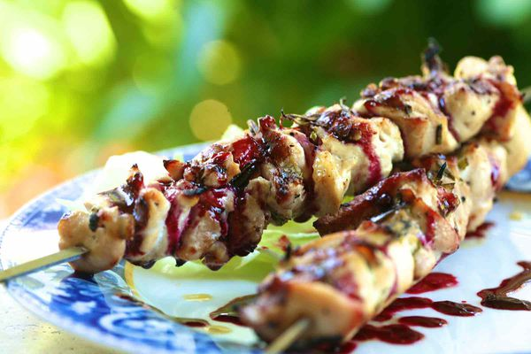 Grilled Chicken Skewers with blackberry sauce and rosemary