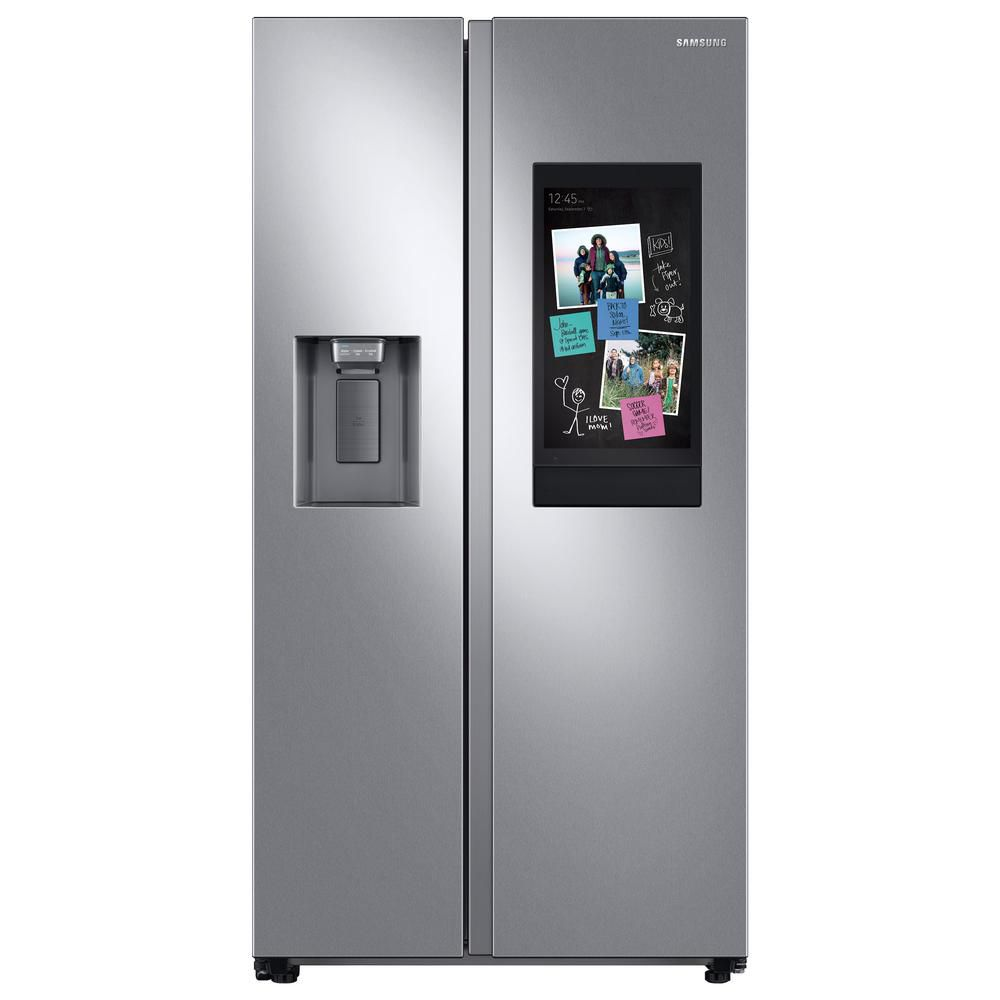 The Samsung 26.7 cu. ft. Family Hub Side by Side Smart Refrigerator in Fingerprint Resistant Stainless Steel has smart technology, and a water and ice dispenser.