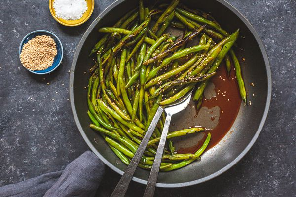 Green Beans with Gochujang in a skillet.