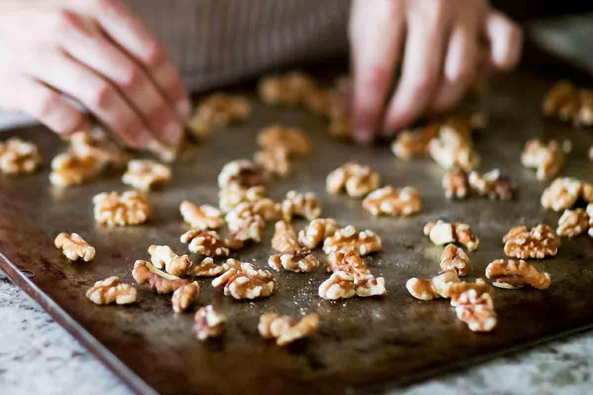 Make candied walnuts - toast the walnuts