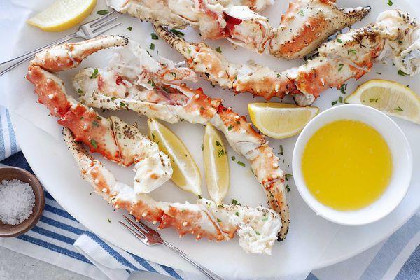 A platter of king crab legs.