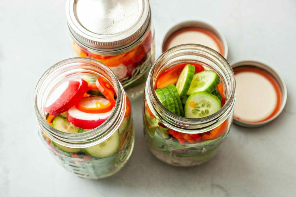 Instant Pot Barley Lunch Jars - jars stuffed with vegetables