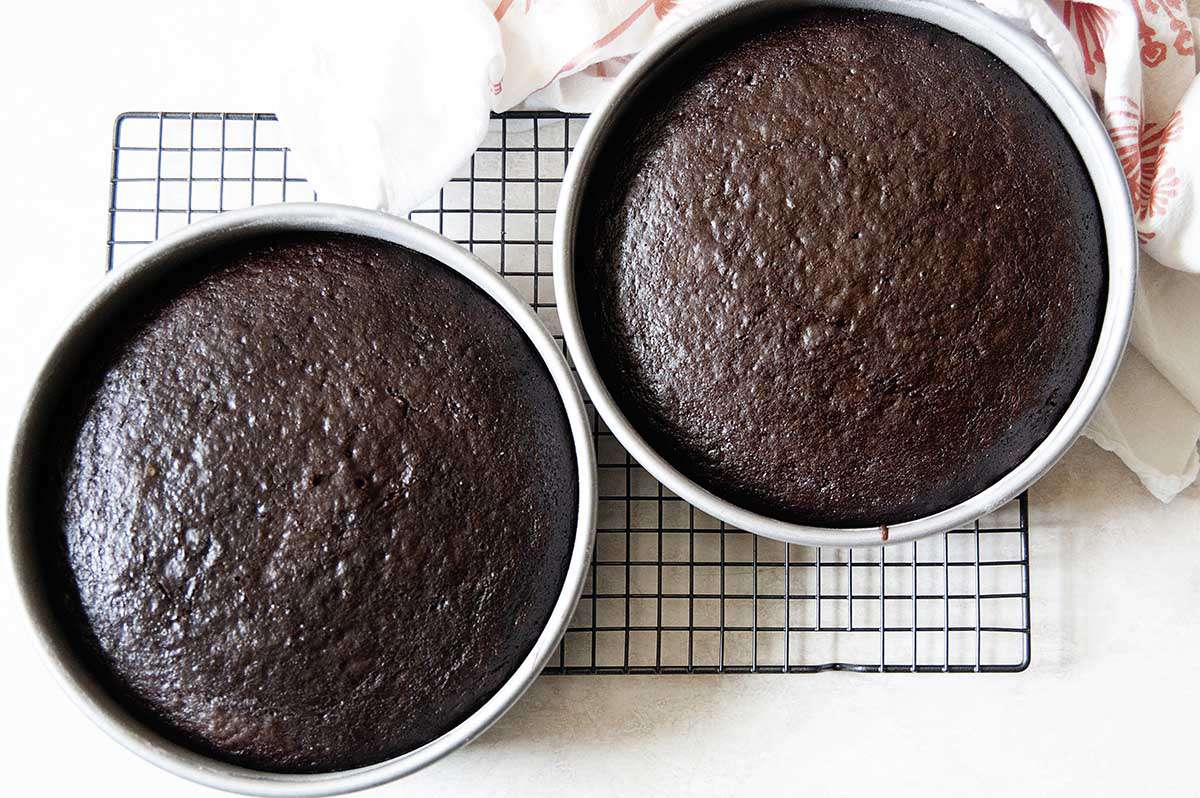 Two chocolate cake rounds cooling on a baker's rack.