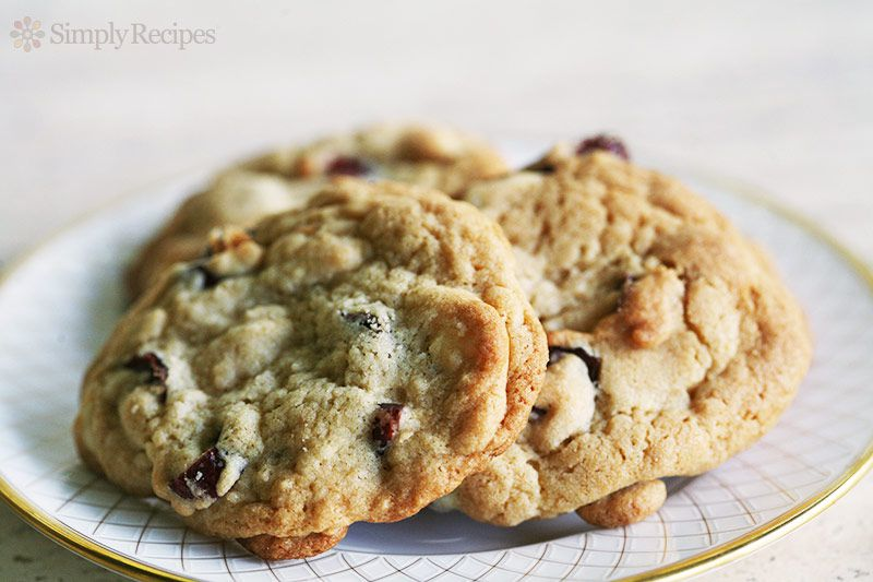 white chocolate cranberry cookies on plate