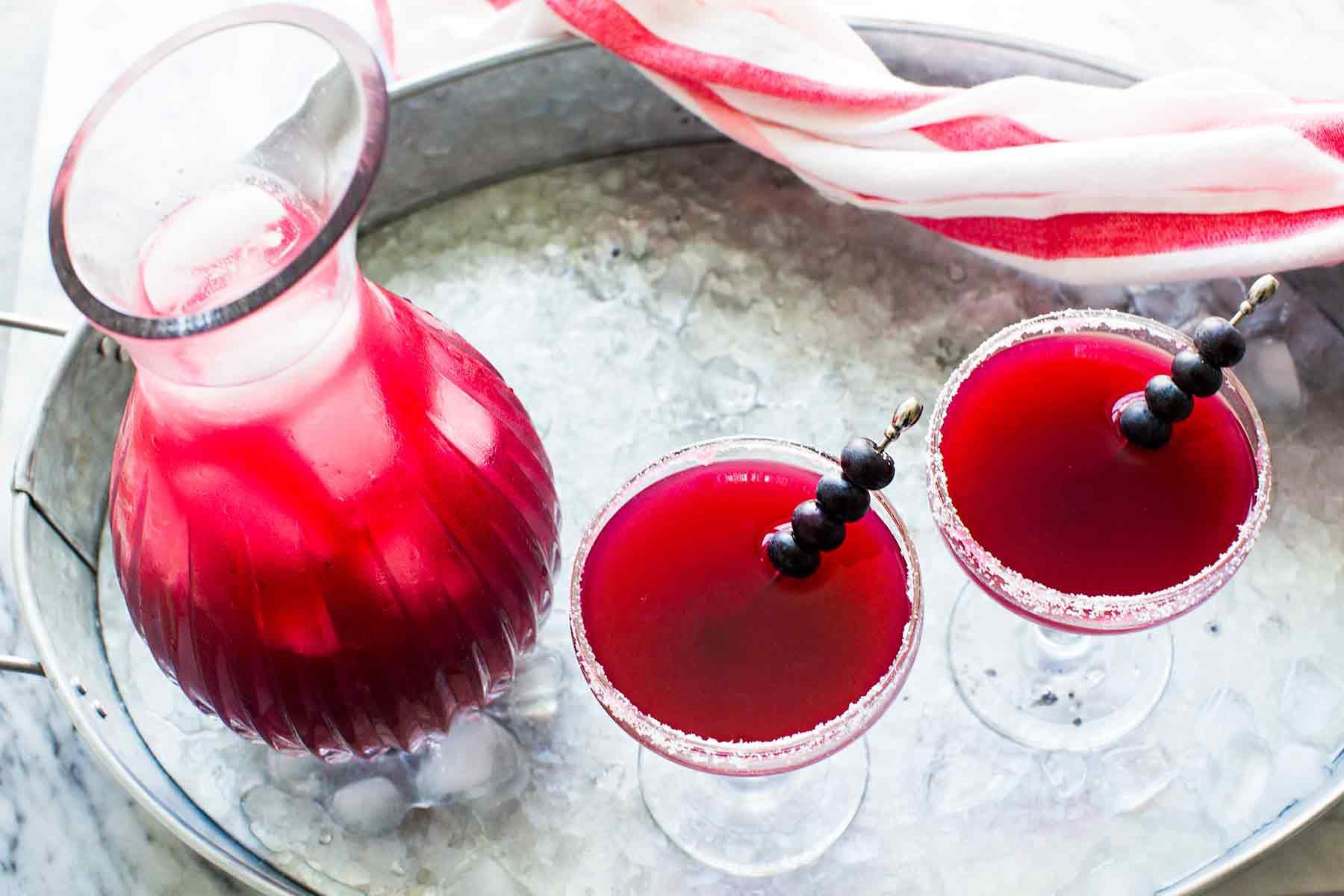 Margarita Recipe with Blueberries serve