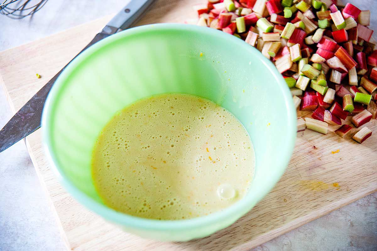 Rhubarb Pie Recipe - custard in bowl