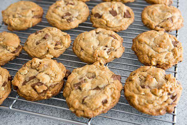 chocolate chunk cookies on cooling rack