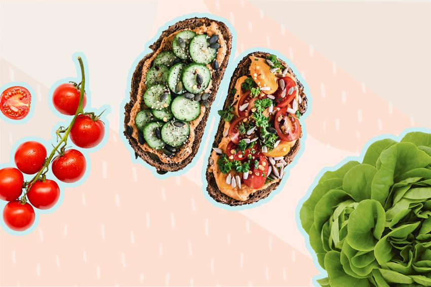 Photo composite of a vine of cherry tomatoes, a head of lettuce, and toast topped with spread and vegetables