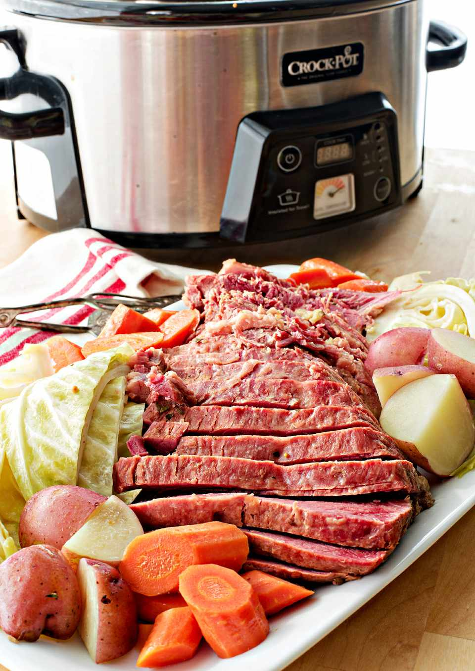 Corned Beef in the Slow Cooker - corned beef and carrots on platter