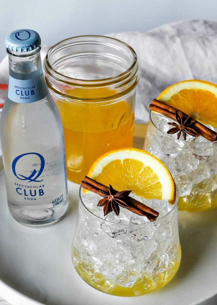 Squash syrup mocktail with orange and baking spices
