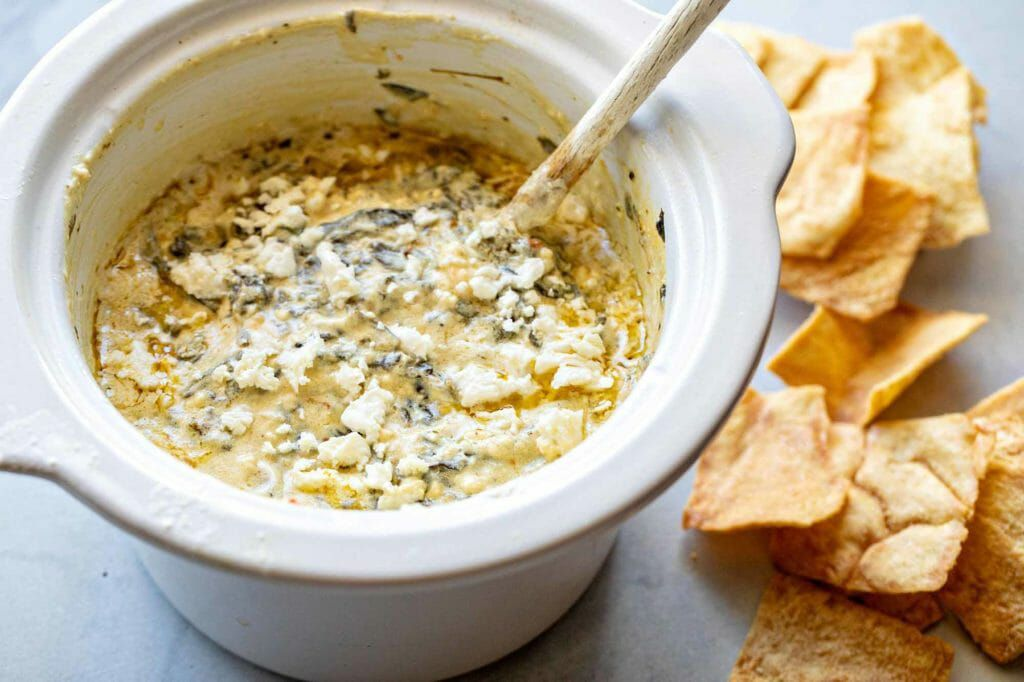 Spinach feta dip in the slow cooker