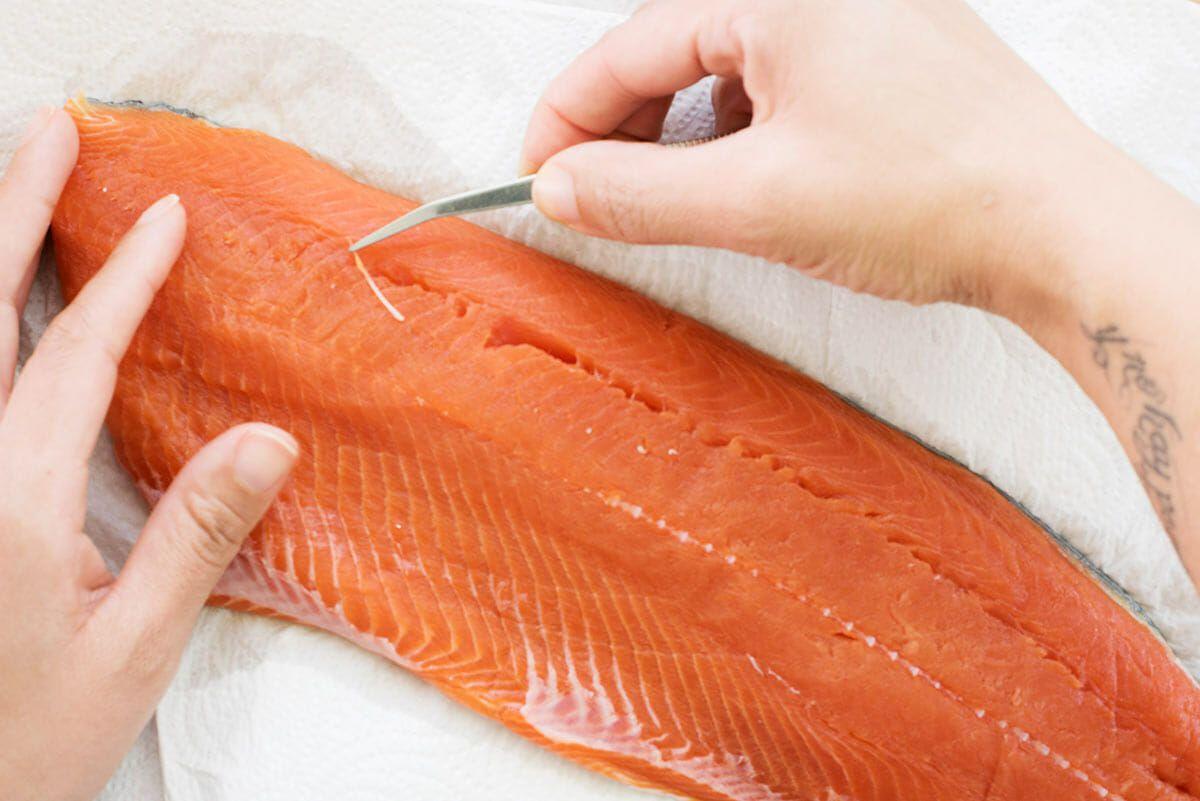 Wild Salmon with Angel Hair Pasta Recipe remove the pin bones