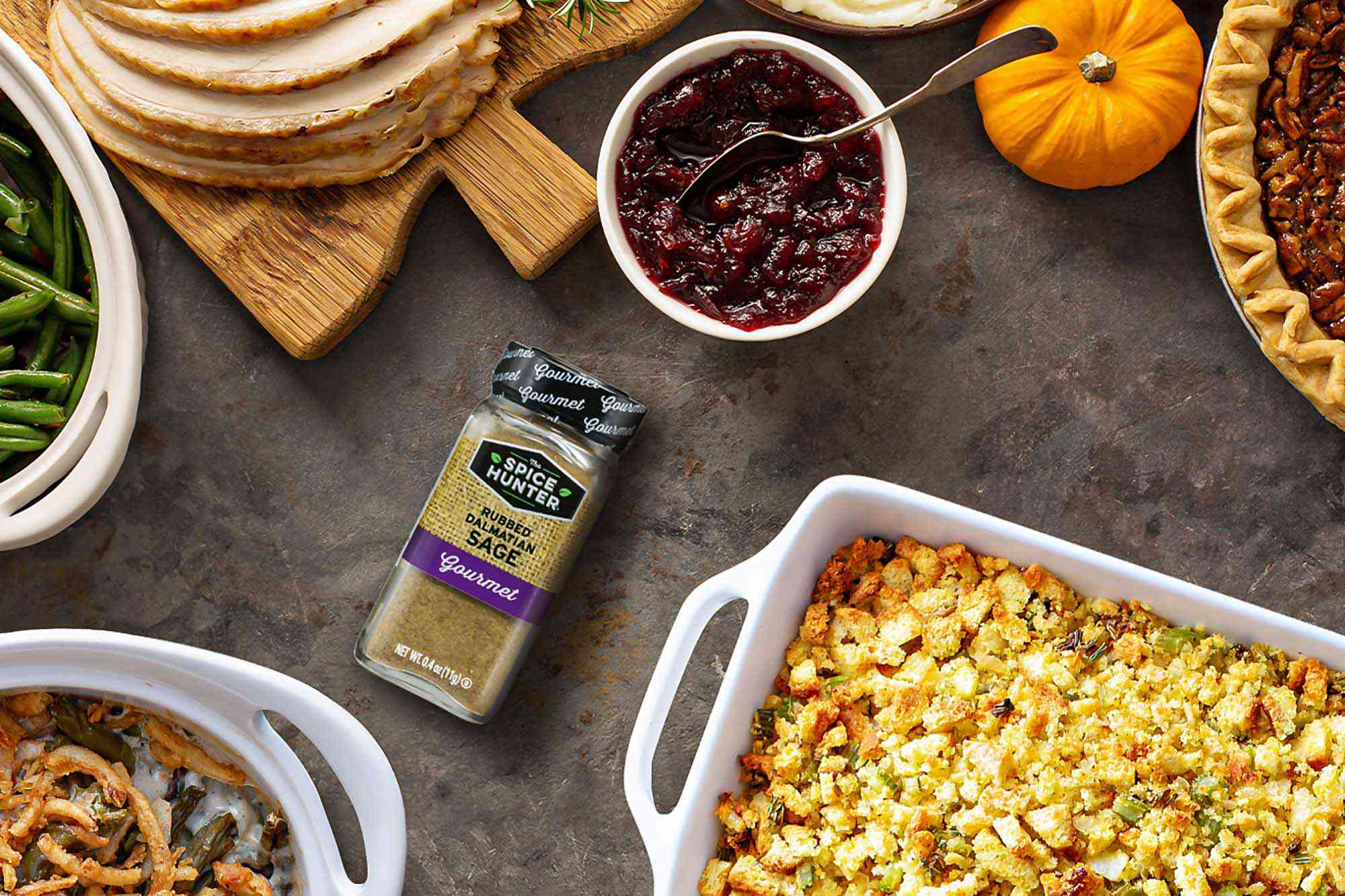 Spice Hunter Sage surrounded by classic Thanksgiving dishes