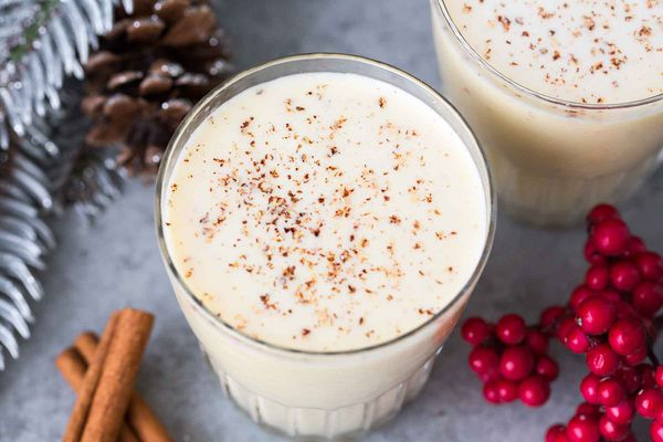 Homemade Eggnog Recipe served in glasses with a sprinkle of nutmeg