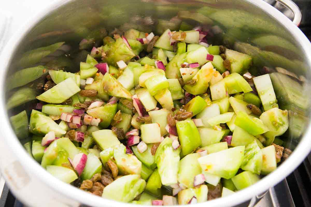 ingredients in bowl for green tomato chutney