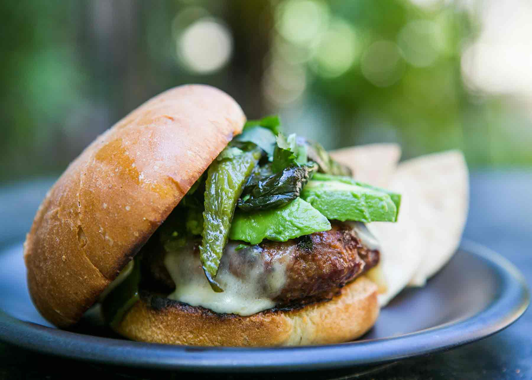 chipotle burgers with poblanos and avocados