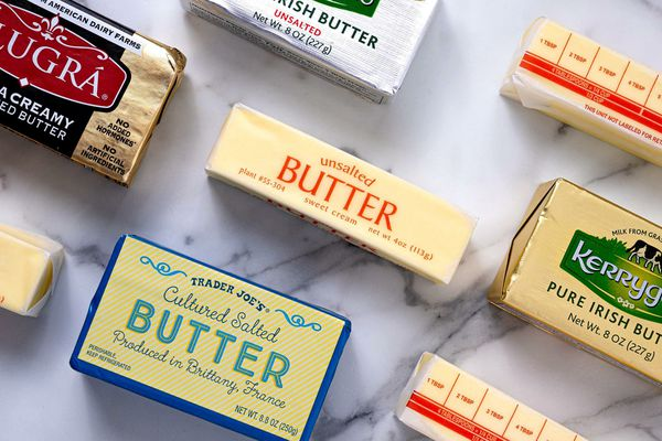 Butter varieties on marble counter