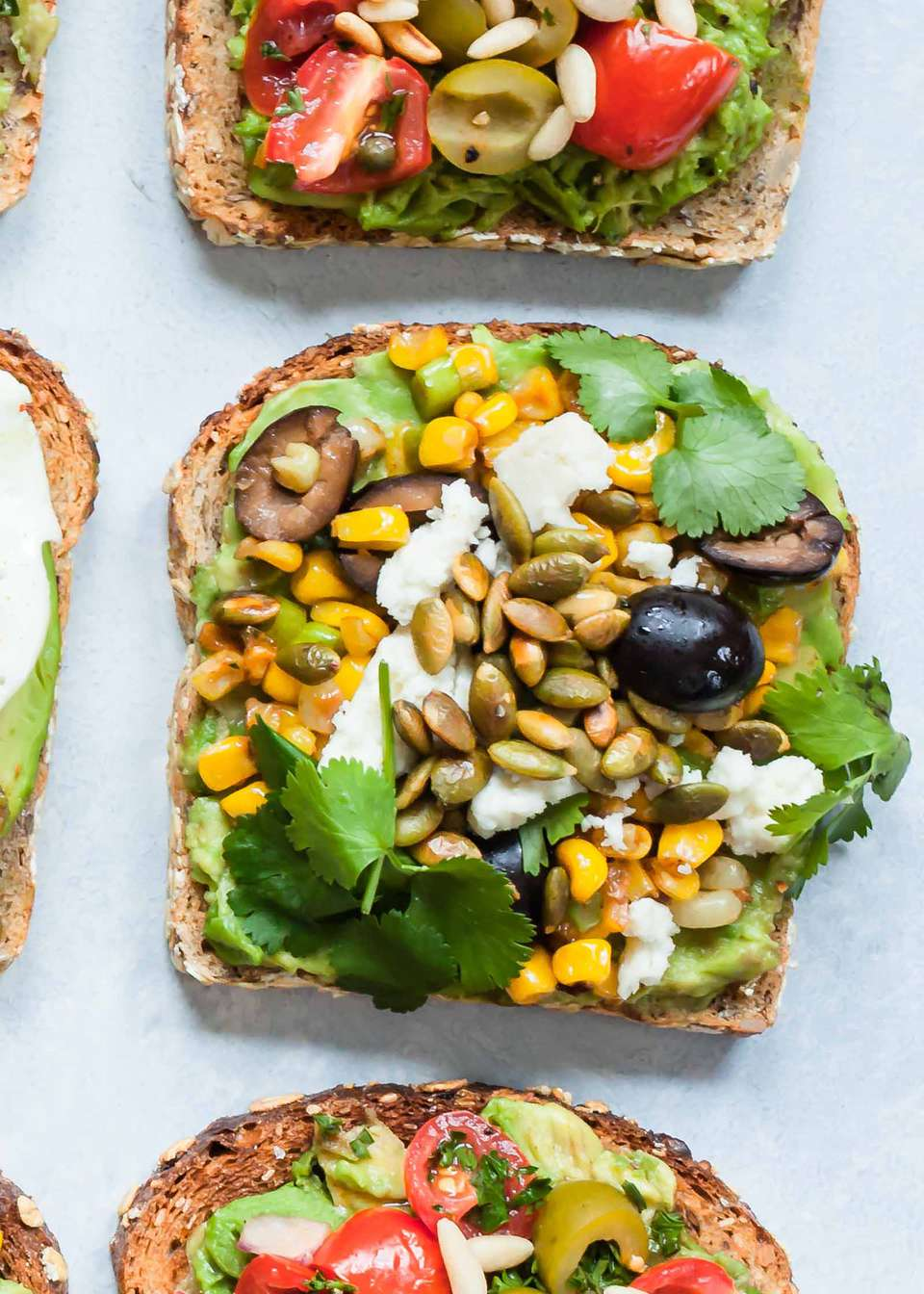 Avocado Toast with Olives, Corn, and Pepitas