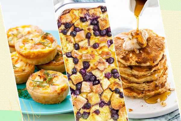 Three photos side by side of Mother's Day brunch recipes.