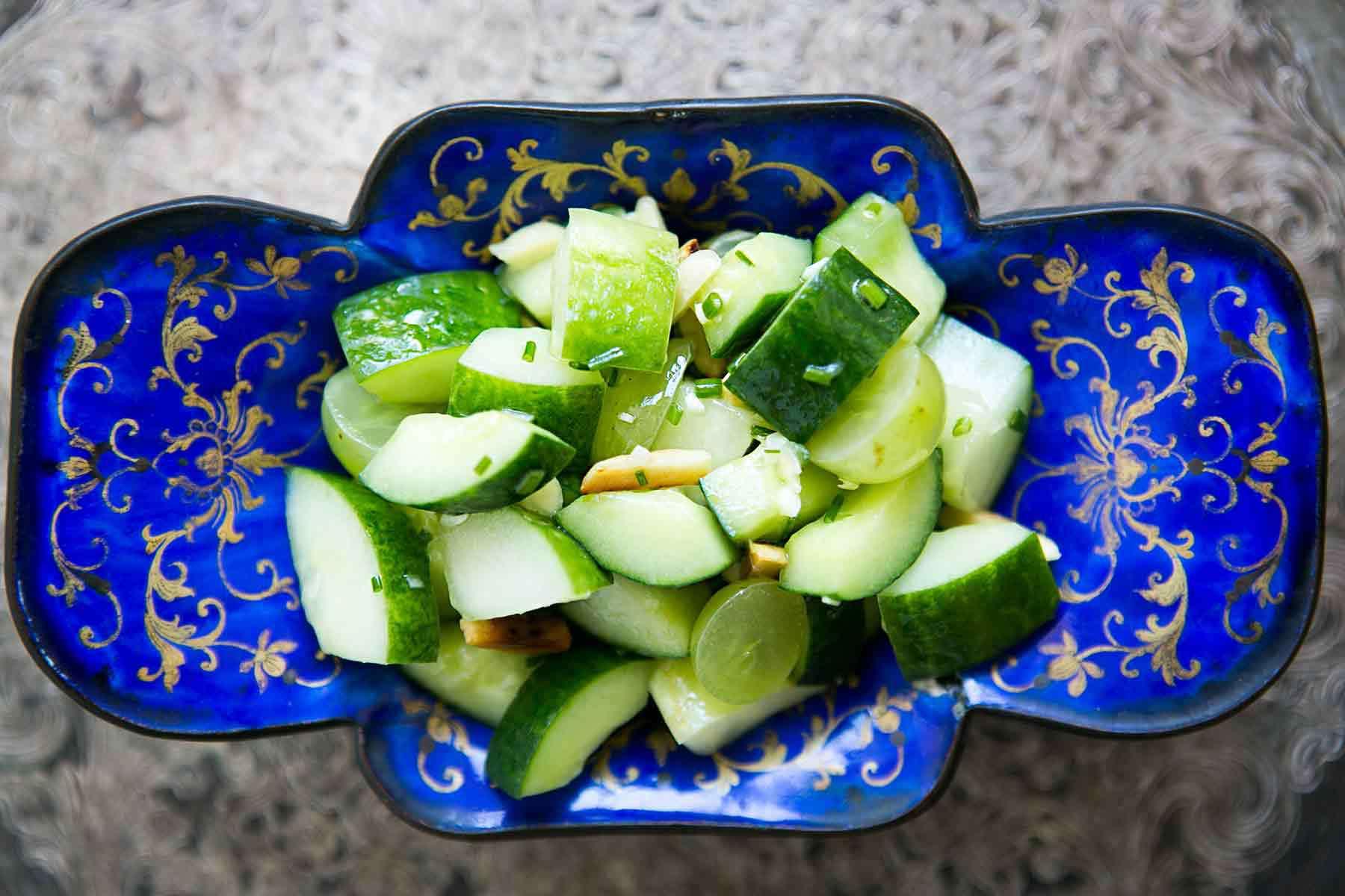 Bowl of sliced cucumber salad