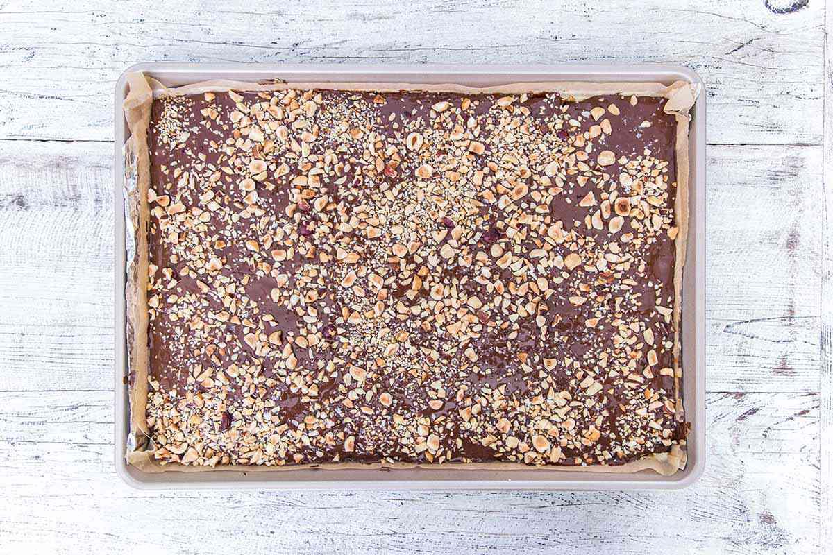 Matzo Toffee Bar Crunch - sheet pan of toffee uncut