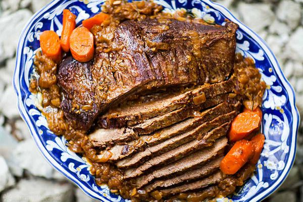 Beef Brisket recipe with carrots on platter