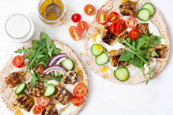 Greek Chicken Skewers with Flatbread and Yogurt Sauce (Chicken Souvlaki)