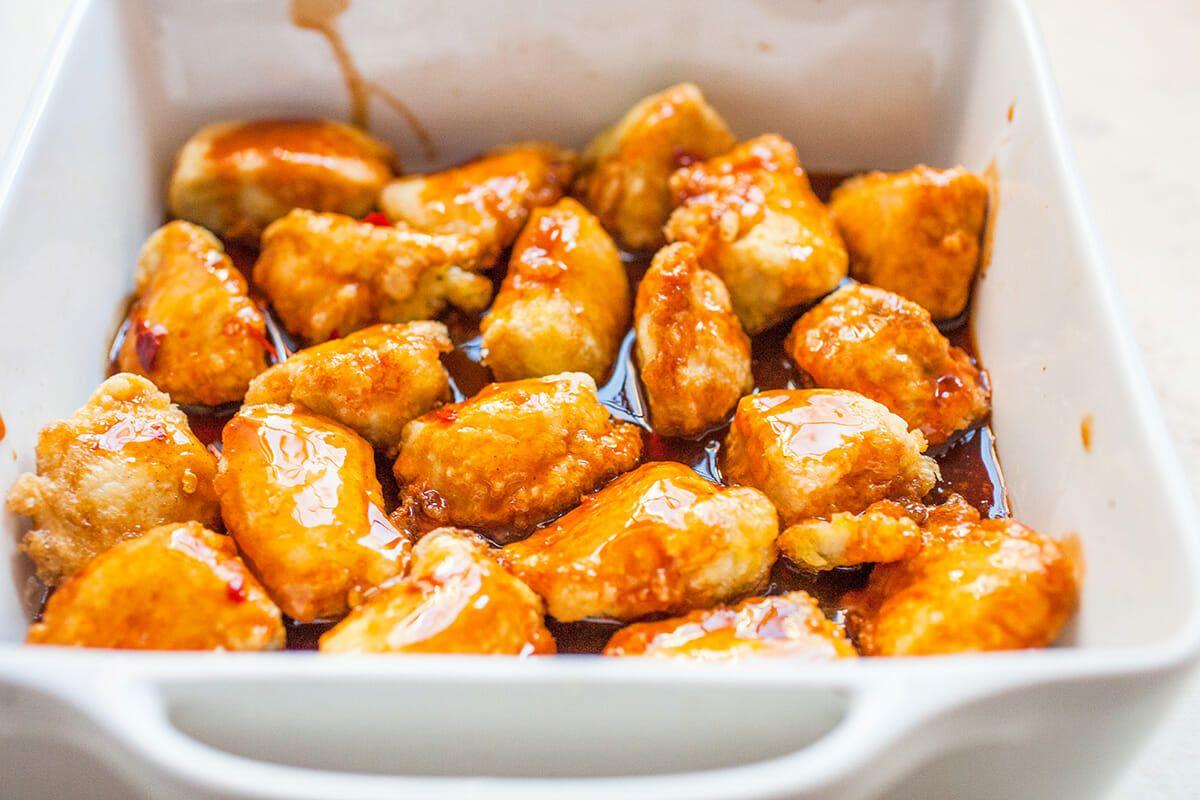 Firecracker Chicken Recipe toss the chicken in sauce