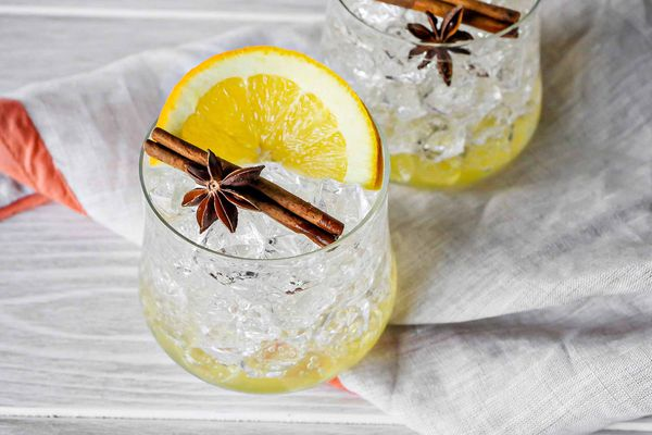Spiced bitter orange mocktail with cinnamon and star anise
