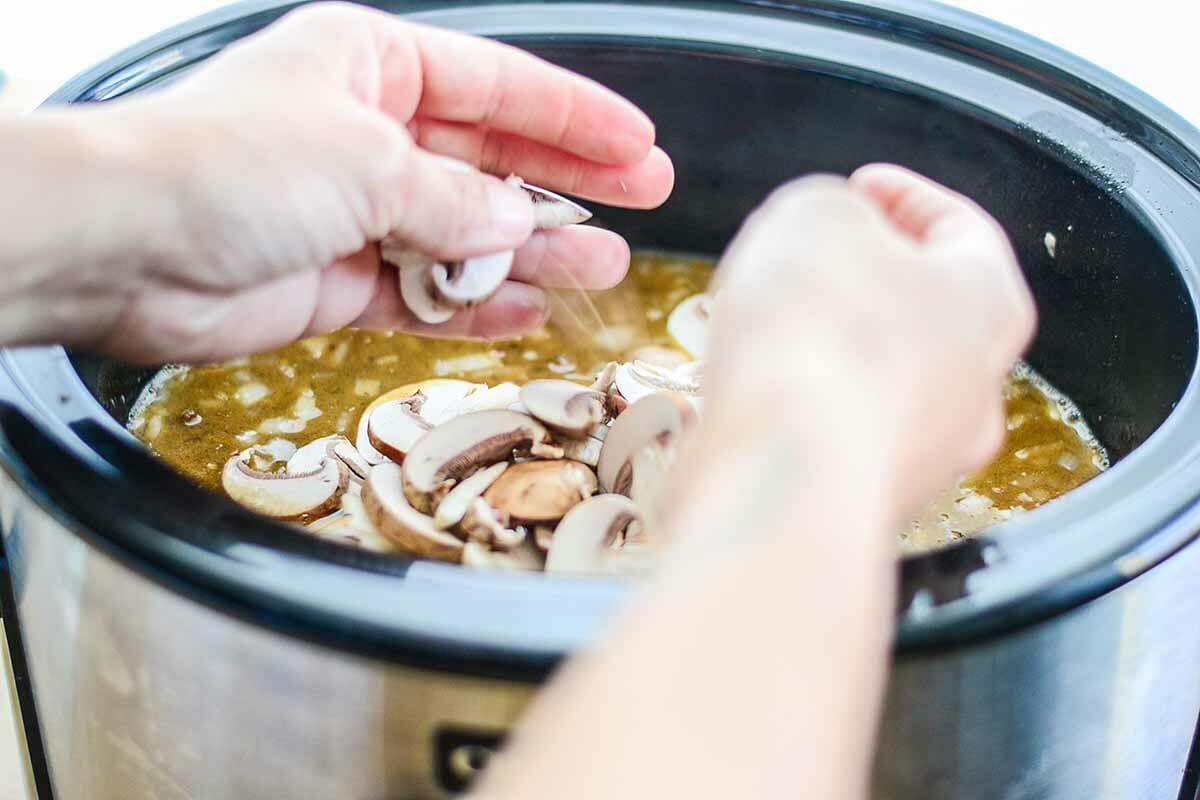Stir in the mushrooms for slow cooker beef stroganoff