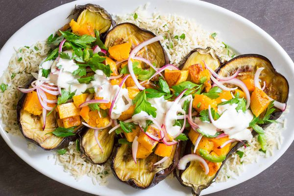 Roasted Eggplant and Squash with Tahini-Yogurt Sauce