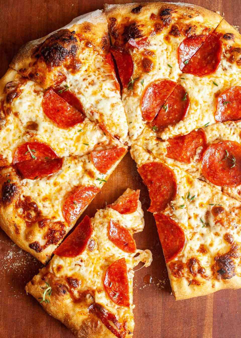 Homemade pepperoni pizza pie