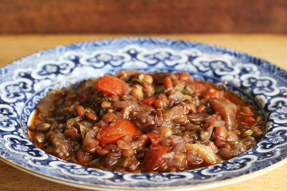 Eggplant Lentil Stew with Pomegranate Molasses