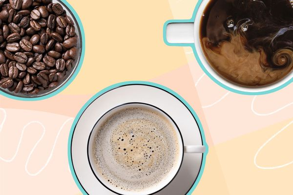 Photo composite of coffee beans, cafe au lait, and a black coffee.