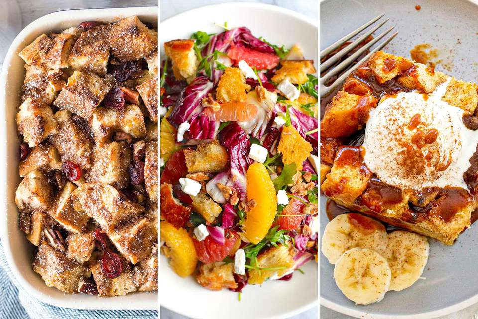 Three photos side by side. On the left is a photo of french toast casserole. The middle photo is Radicchio Salad with Citrus. The photo to the right is Slow Cooker Banana Bread Pudding with caramel sauce, whipped cream and sliced bananas on the side.