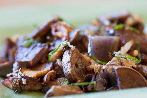 Purple Potatoes with Shiitake Mushrooms