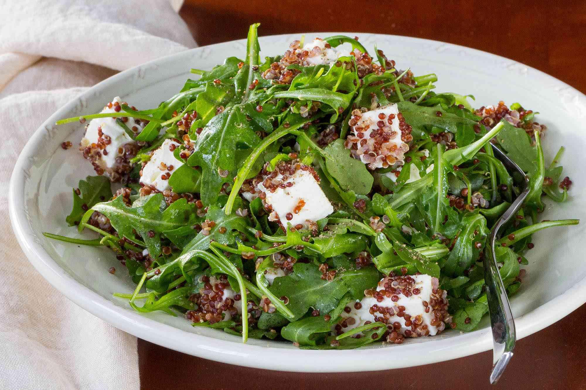 Red Quinoa, Arugula, and Feta Salad