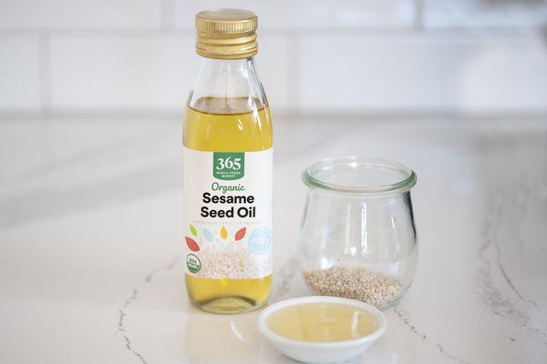 Bottle of organic sesame seed oil