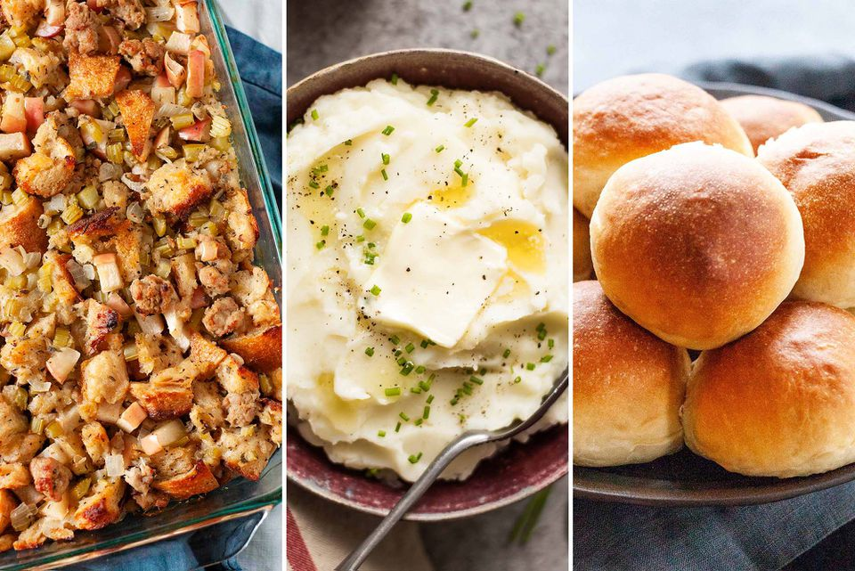 Three images side by side. On the left is Thanksgiving Stuffing with Sausage and Apples. In the center is a bowl of Slow Cooker Mashed Potatoes topped with butter. On the right is a stack of Make-Ahead Dinner Rolls.