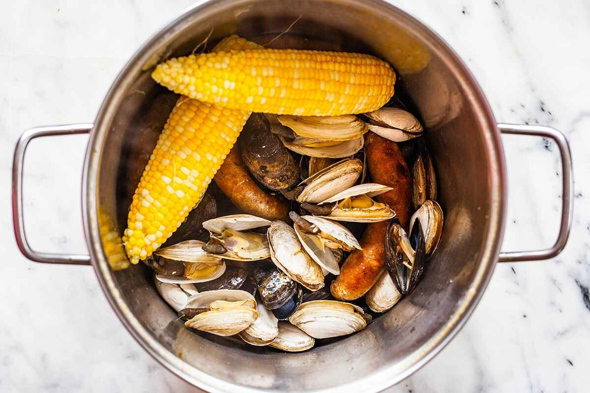 New England clambake add the remaining ingredients