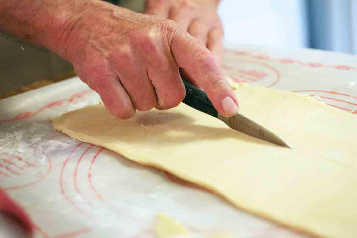 cut kolache dough
