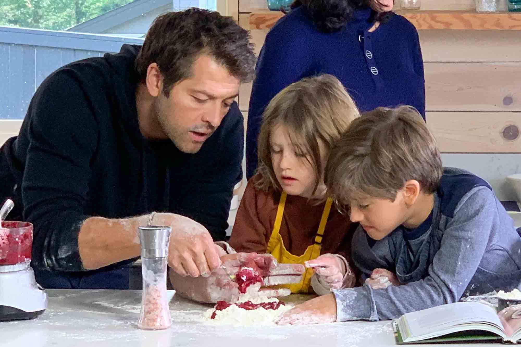Misha Collins and his kids making gnocchi
