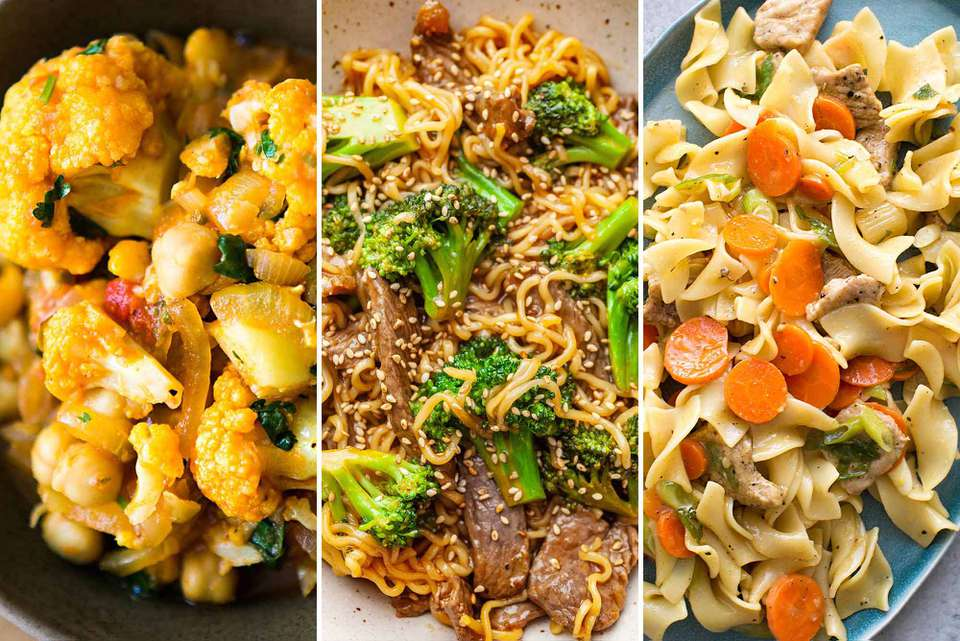 Three photos together One with citrus pork, egg noodles and carrots, one of broccoli beef stir fry, one of curried chickpeas