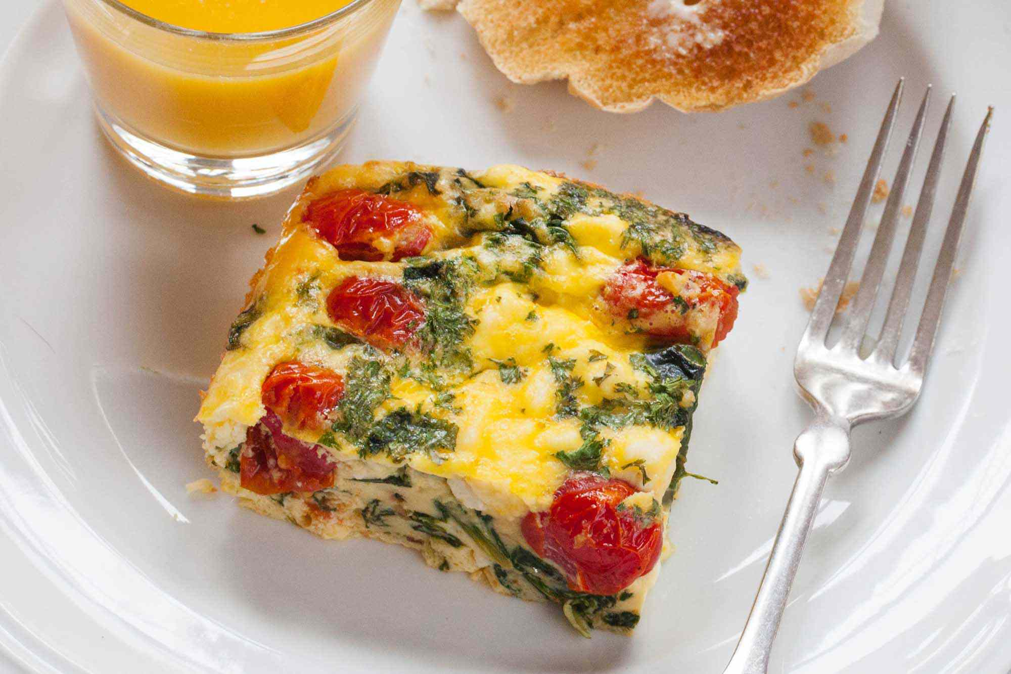 Frittata Squares with Spinach, Tomatoes, and Feta