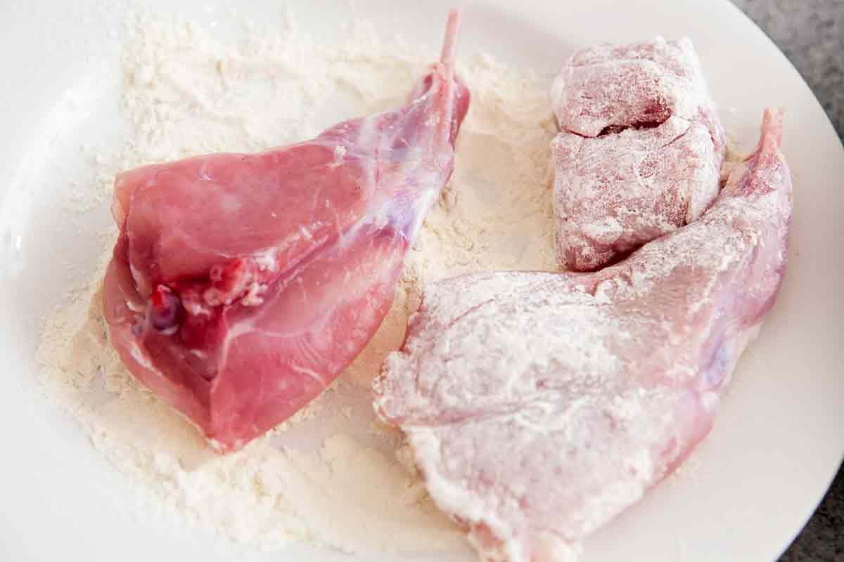 dredge rabbit in flour for braised rabbit recipe