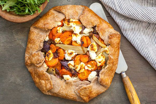Savory Vegetable Tart with carrots and chevre cheese.