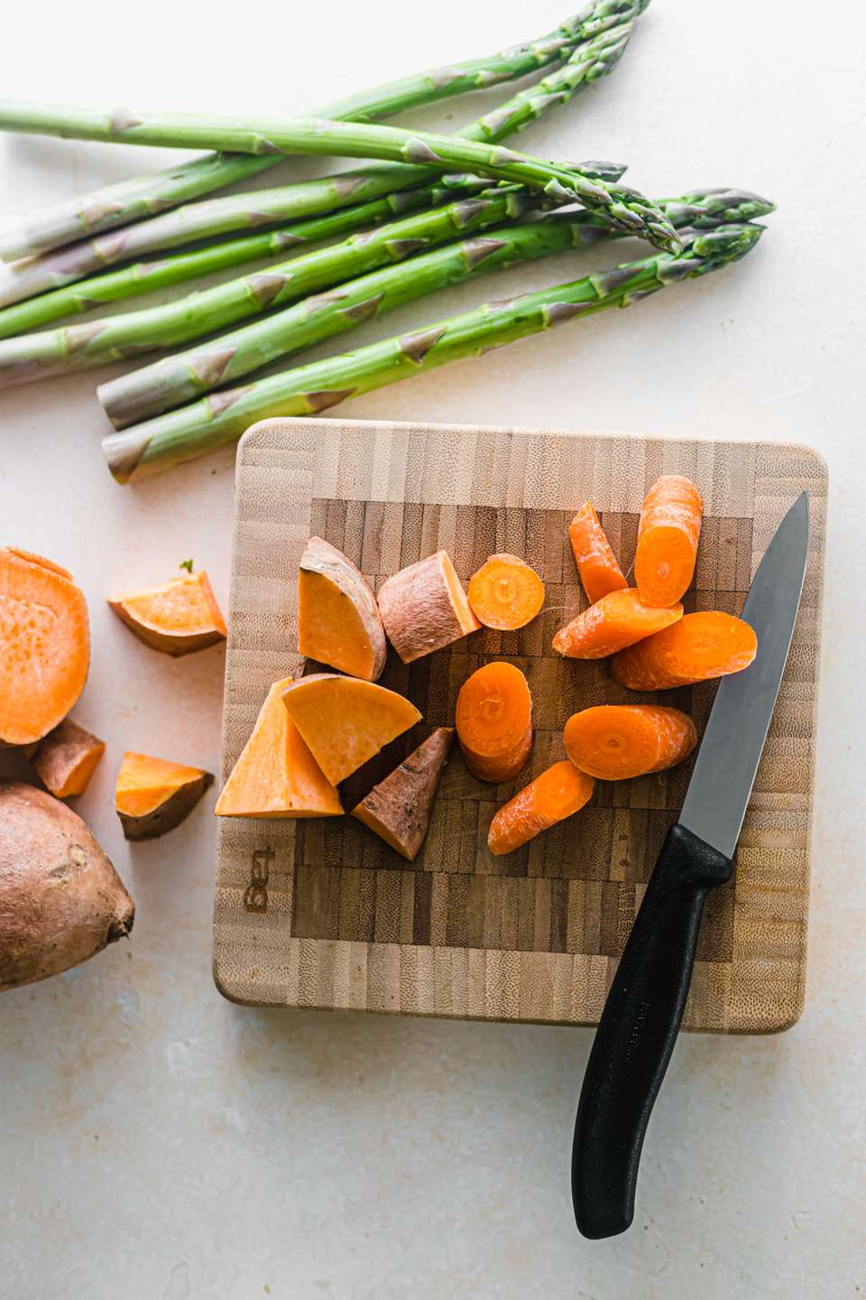 Chopped sweet potatoes carrots asparagus how to roast vegetables