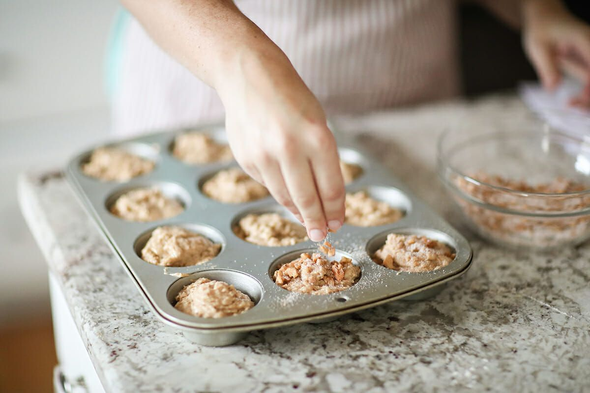 Whole Wheat Muffins with Applesauce top the muffins