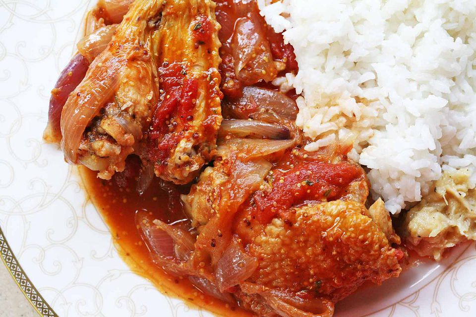 Chicken Stew with Onions, Tomatoes, Dijon