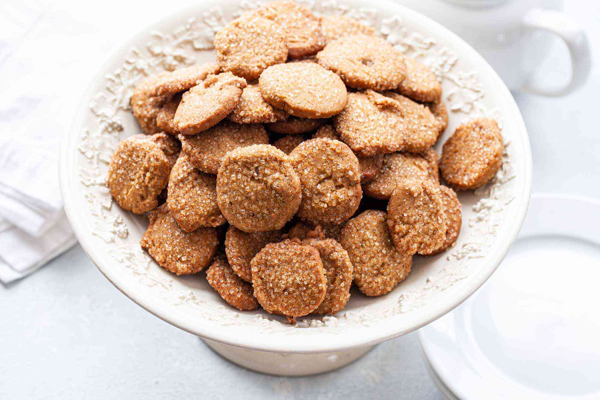 Mini Easy Ginger Lemon Cookies placed in a footed serving bowl.